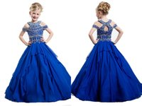 Wholesale New Flower Blue Girls Pageant Dress With Halter Straps Beadings Floor Length Wedding Party Sweet Little Kids Dresses