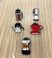 asian pots - Chic Enamel Coffee Series Coffee Pot Cup Brooch Pins Party Sassy Pop Classy New In Bag Accessory Hat Gift
