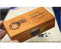 Wholesale DHL Sets set Creative Lowercase Uppercase Alphabet wood rubber stamps set Wooden box