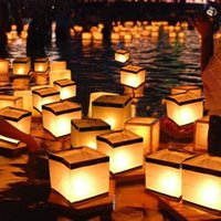 Wholesale 5pcs Paper square wishing lamp floating water wishing lanterns with candle for birtyday wedding party decoration