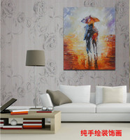 artist canvas frames - Professional Artist Hand painted oil paintings of modern art in street two people walking in the rain on the canvas No Frame