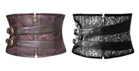 Wholesale Women Zipper Brocade steampunk waspie underbust corset has an attractive black brown pattern with buckle straps S to XL