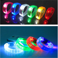 Wholesale Hot sale Outdoor sports Survival Voice Control LED Bracelet Cycling Riding Bicycle Wrist Band Running LED Wristbands Party Gift order lt no