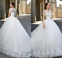 Wholesale 2016 Ball Gown Wedding Dresses Lace Appliques Short Sleeves V Neck Summer Wedding Gowns Vintage Tulle Long Bridal Gowns Vestidos de festa