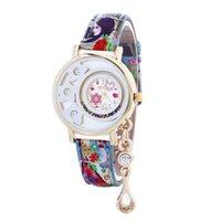 beautiful love rounds - 50pcs Printing leather watches fashion colorful women hollow watch love heart pendant wristwatch beautiful flower casual dress quartz watch