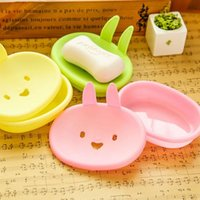 Wholesale Creative Cute Little Cartoon Rabbit Soap Box Smiley Soap Supplies Three Colors Yellow Green Pink cm