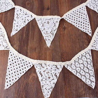 Wholesale 10 Flags M Ivory Lace Fabric Banners Personality Wedding Decoration Supplies Vintage Banner Bunting Decor Party Birthday Show Decoration