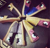 big eye glitter - 2016 New Fashion Flirting Big Eyes Loafers Chiara Ferragni Glitter Slip on Sneakers Round Toe Women Casual Flat Shoes