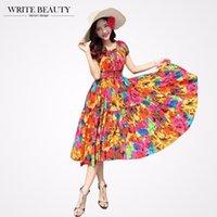 beauty writing - Write Beauty Sale Bohemian oversize Fit flower print Long plus size beach Summer Dress Women Top Plus Size cotton women Dress