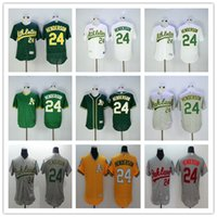 athletic shorts for men - Oakland Athletics Rickey Henderson Green Gray White Yellow Pull Down Top Quality As MLB Baseball Jerseys For Sale