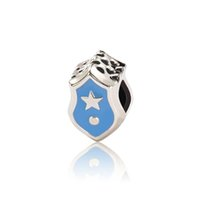 Cheap Medal of Love Charm with blue Enamel 925 Sterling silver fine charms loose beads diy jewelry for European thread bracelet OMB028
