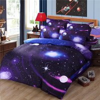 Wholesale Hipster Galaxy Bedding Set Universe Outer Space Themed Galaxy Print Bedlinen Sheets Twin Single Double Full Cheap Hot