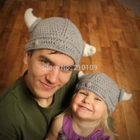 adult beanie baby costume - 2016 Handmade Cute Gray Color Viking Helm Beanies Hats Baby Toddler Child Adult Sizes Photo Prop Halloween Costume Shower Gifts