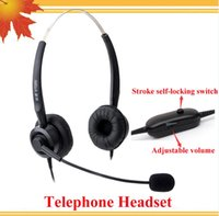 Wholesale Corded Telephone Headphone call center headset telephone with RJ09 Plug with Volume Control and mute function