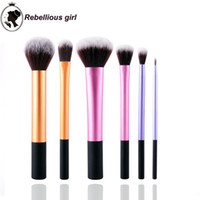 aluminum powder - 6pcs Makeup Brushes professional Real Brush technology Powder Face Contour Foundation Beauty Starter Kit Travel Essentials Aluminum Tool