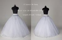2016 bola de estilo vestido de 8 capas de tul Sin aro de la enagua blanca del vestido de boda de la crinolina de la enagua de la falda del resbalón / 3-ARO envío gratuito