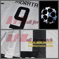 Wholesale UCL Final Berlin J U Match Worn Player Issue Shirt Jersey Short sleeves Pirlo Pogba Tevez Morata Soccer Custom Patches Sponsor