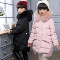 Wholesale 2016 Fashion Girl winter down Jackets Children Coats warm baby thick duck Down Kids Outerwears for cold degree jacket