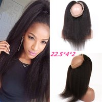 Wholesale Ear To Ear Lace Frontal Closure With Baby Hair Peruvian Kinky Straight Virgin Hair Full Lace Band Frontal Natural Hairline