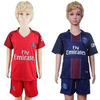 Wholesale 2017 Kids Kit Paris Football Jersey Paris Home Blue Away Red Boy Soccer Jerseys Cavani Di Maria Ibrahimovic Child Soccer Shirts