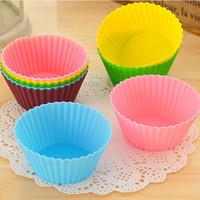 Spedizione gratuita Muffin Coppe rotonda del bigné del silicone di sicurezza fai da te bigné di cottura del fondente Muffin torta Coppe Stampi