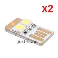 Wholesale wholesle Pocket Card Lamp Bulb LED Keychain Mini LED Night Light Portable USB Power White