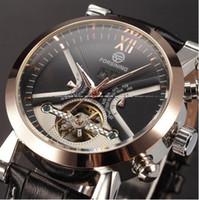 alloy winner - Classic Tourbillon Wrap Mens Watches Top Brand Luxury Automatic Watch Golden Case Calendar Male Clock Black Mechanical Watch