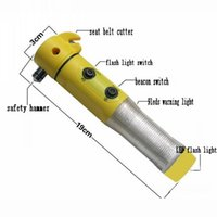 Wholesale Multifunction car emergency hammer in safety hammer seat belt cutter beacon light flash light