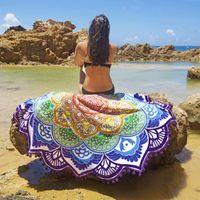 beach blankets - New European Rayon Printing Circular Beach Mat Yoga Blankets Yoga Mat Sand Cloth Shawl Towel Bikini Summer Dress cm