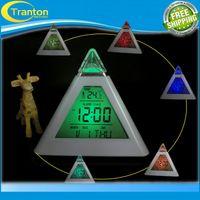 backlight bulbs - New Fashion Pyramid Temperature Colors LED Change Backlight LED Alarm Clock