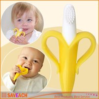 Wholesale 2016 NEW High Quality And Environmentally Safe Baby Teether Teething Ring Banana Silicone Toothbrush