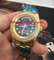 automatic diamond - Automatic mens luxury Gold case wristwatch diamonds bezel big size mm full functions for Day and Date brand watches
