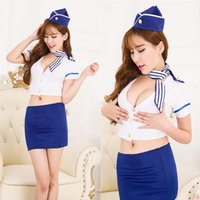 air stewardess costume - Airline stewardess uniform with hat Women Sexy Lingerie cosplay Air Hostess Airline Stewardess uniform Sexy lingerie costumes