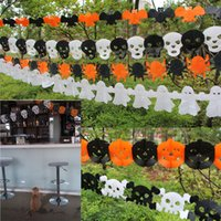 bar banners - Halloween Paper Chain Garland Decorations Banner Pumpkin Bat Ghost Spider Skull Shape for Home Bar Store party scene decoration props B897