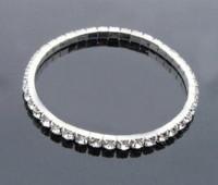 Wholesale Jewelry Silver Bracelets Women Fashion Elastic Shining Crystal Silver Bracelets amp Bangles BG022