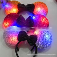 adult hair bows - 2016 LED Flash Light Emitting Hair Sticks Bow LED Hair Clip Mickey Sequin Halloween Children Adult LED Headband E1264