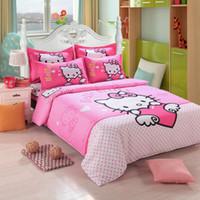Wholesale Angle Hello Kitty Bedding Set Children CartoonDuvet Cover Bed Sheet Pillowcase Set for Girls Bedclothes Gift Home Textile