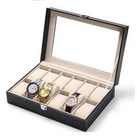 Wholesale 12 Grid Slot Watch Display Box Case Jewelry Collection Storage Organizer Holder Luxury Leather watch display box Black Jewelry boxes