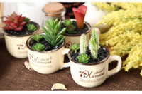 artificial potted plants - 2016 Hot sale New designed artificial succulent plant with ceramic pot American country fashion