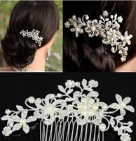 Wholesale Fashion Bridal Wedding Tiaras Stunning Rhinestone Fine Comb Bridal Jewelry Accessories Crystal Pearl Hair Brush