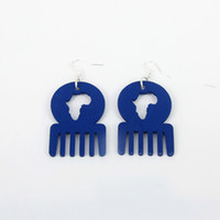 afro comb - Trendy Handmade unique Dark Blue Color African Map Afro Comb Shape Dangle Wooden Earrings for Women Xmas Gift