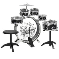 Wholesale Kids Drum Set Kids Toy with Cymbals Stands Throne Black Silver Boys Toy Drum Kit