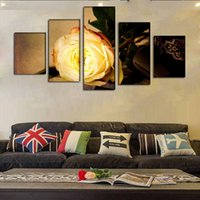 abstract flower photos - Fashion Gold Rose Flower Canvas Painting Pictures On The Wall Print Paintings Home Decor Canvas Wall Art Modular Photos No Frame
