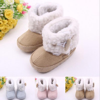 Wholesale Baby Toddlers Winter Shoes Kids Snow Boots Soft Sole Pre Infant Newborn Baby First Walker Shoes Boys Cutton Moccasins Girls Suede Booties