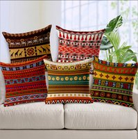 Wholesale African National Bohemian Style A Grade Simple Striped Linen Chair Cover Spandex Travel Cushion cm Square Sleep Holding Pillow Cases
