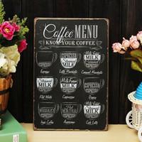 Wholesale Coffee Menu Vintage Tin Sign Bar Pub Shop Home Wall Decor Retro Metal Art Poster