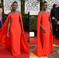 award jackets - 2016 Red Capet Celebrity Dresses Golden Globe Award Lupita Off Shoulder sexy Fancy Cape Cloak Bateau Sheath Evening Prom Gowns