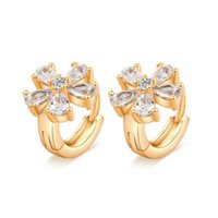 Cubic Zirconia adorn selling fashion - 2016 Super hot sell New fashion small adorn article small simple flower earring clip for party earrings for models