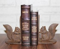antiques end tables - Pair of Squirrel Cast Iron Bookends Book Ends Antique Metal Bookend Room Desk Table Study Decoration Rustic Crafts