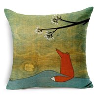 Wholesale New Ikea Red Fox Dating Season Love Cushion Cover Pillow Case Sofa Couch Throw Decorative Linen Cotton Cushions Pillows Covers Present